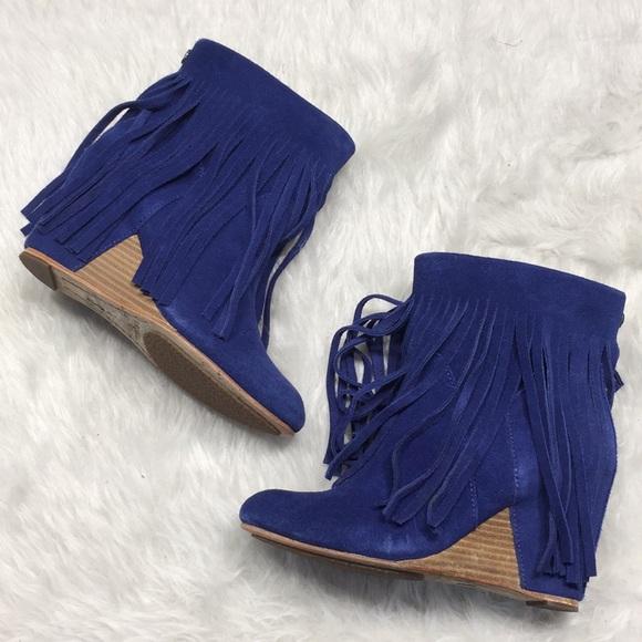 7ac7e0e36cc Koolaburra by UGG blue suede Veleta fringe boots